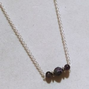 Nwt! 925 Sterling Amethyst Bar necklaces
